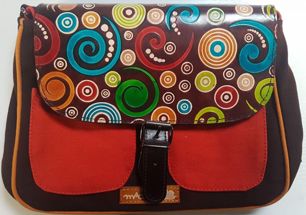 Sac Macha élégant marron et orange à bandoulière Axl 305355