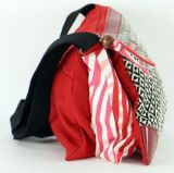 Sac Macha en cuir et coton rouge 3 compartiments Spring 271333