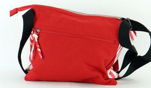 Sac Macha en cuir et coton rouge 3 compartiments Spring 271334