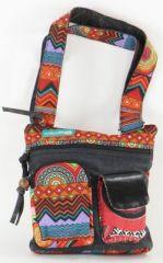 Sac Macha ethnique tons noir à bandoulière Mandala 271287