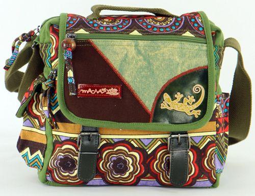 Sac Macha ethnique tons vert à bandoulière Malino 271471