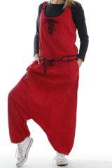 Salopette original coupe sarouel femme avec broderie rouge Molikumba 304044