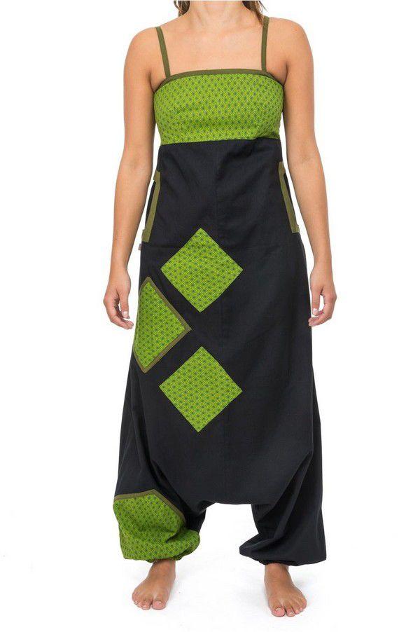 Salopette original coupe sarouel femme original noir et anis Djina 304145