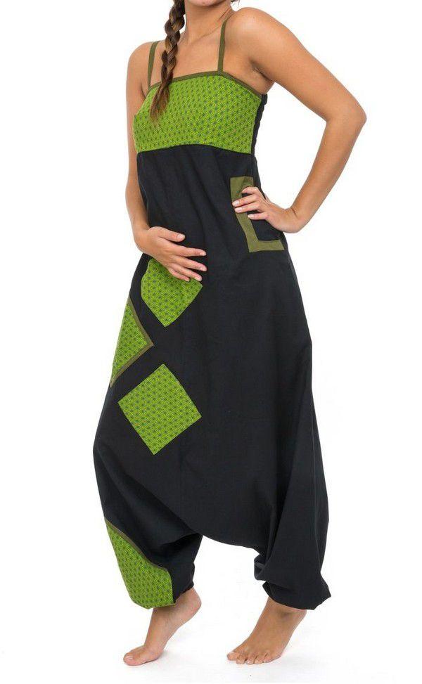 Salopette original coupe sarouel femme original noir et anis Djina 304146