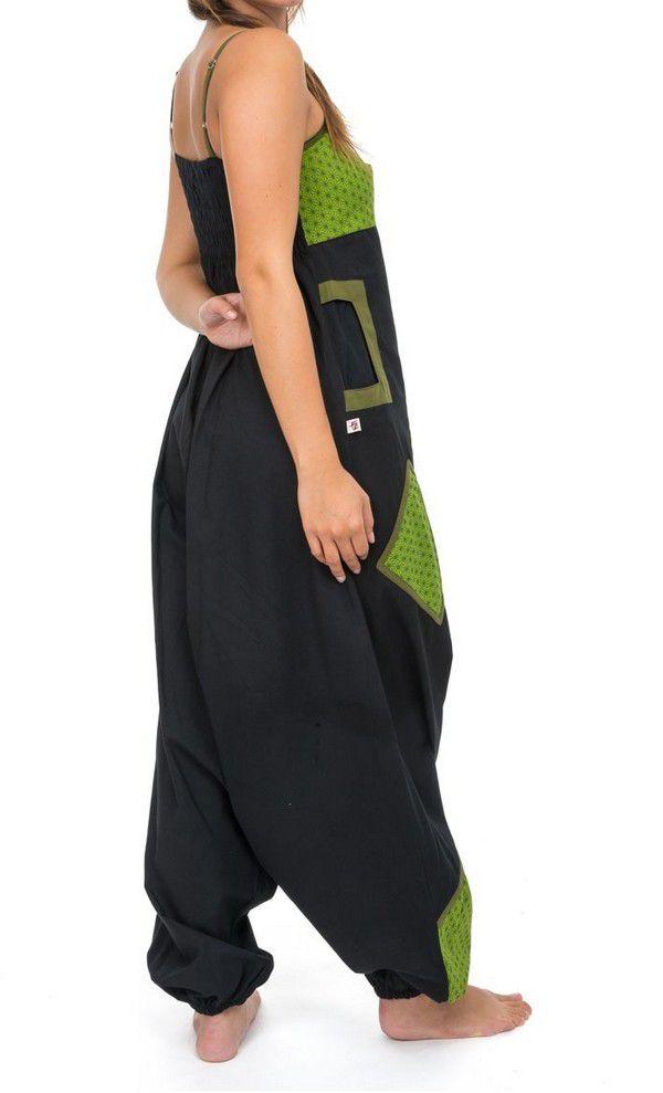 Salopette original coupe sarouel femme original noir et anis Djina 304147