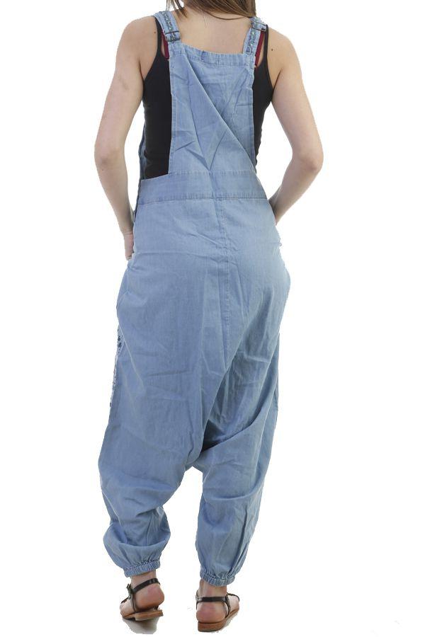 Salopette sarouel fourche basse en jean avec imprimés ethniques Portia 296855