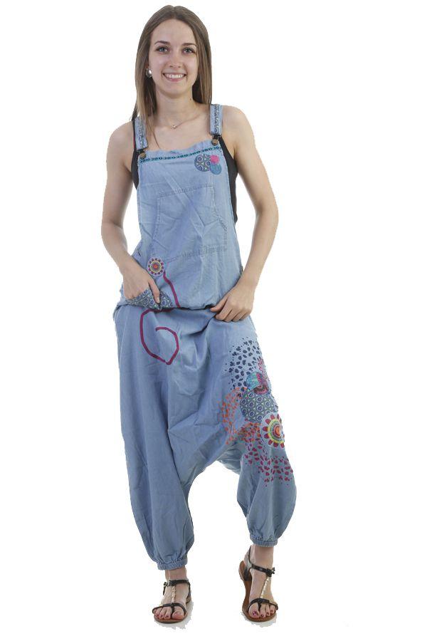 Salopette sarouel fourche basse en jean avec imprimés ethniques Portia 296856