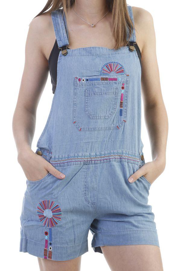 acheter populaire b7daa f2092 Salopette Short en jean pour femme Ethnique et Originale Lison