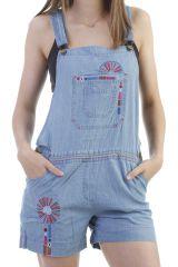 Salopette Short en jean pour femme Ethnique et Originale Lison 296794