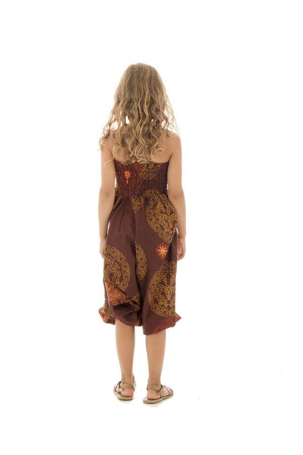 Sarouel 3en1 ethnique et imprimé pourvu d'un smocks Dalia 294716