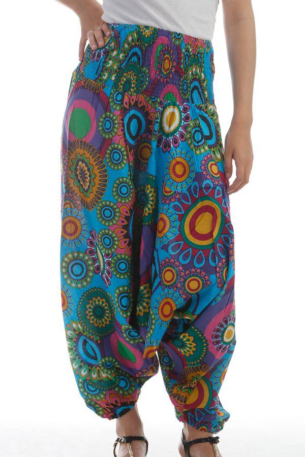 Sarouel 3en1 pour femme Originale Gai et Coloré Eliska Turquoise 297784