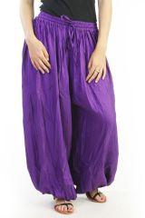 Sarouel ample avec fourche haute uni violet Milly 290820