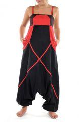 Sarouel combinaison tendance et ethnique noir et rouge Inah 304440