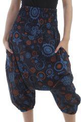 Sarouel court bleu et orange avec imprimé ethniques fantaisies Sury 297024
