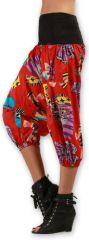 Sarouel court pour Femme Ethnique et Coloré Joddy Rouge 277118