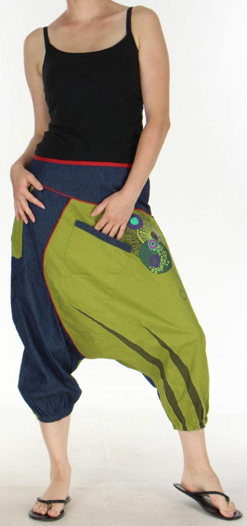 Sarouel court pour Femme Ethnique et Coloré Kaelan Bicolore 275493