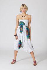 Sarouel d'été blanc en coton transformable 3en1 Sarah 289313