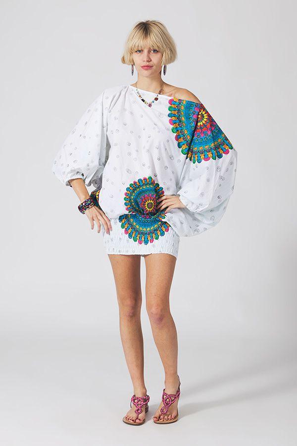 Sarouel d'été blanc en coton transformable 3en1 Sarah 289316