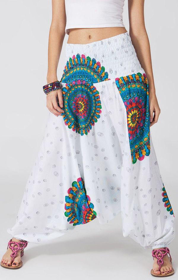 Sarouel d'été blanc en coton transformable 3en1 Sarah 292336