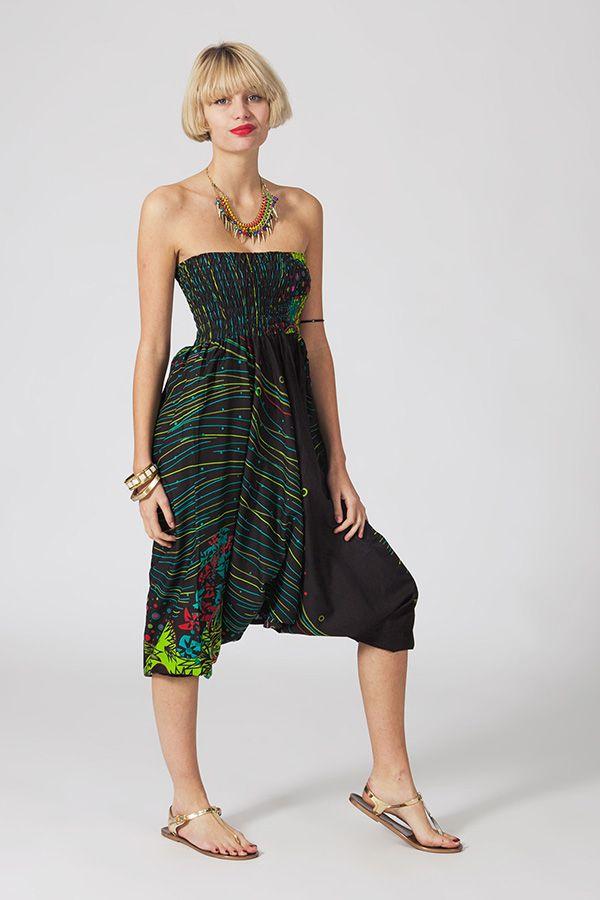 Sarouel d'été noir en coton transformable 3 en 1 Zara 289333