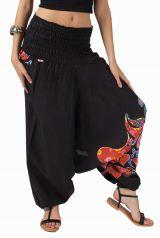 Sarouel d'été noir et imprimé en coton transformable 3 en 1 Zara 292337
