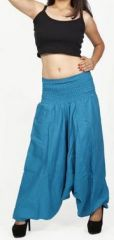 Sarouel d'été uni bleu pour femme 3en1 en coton Misha 271076