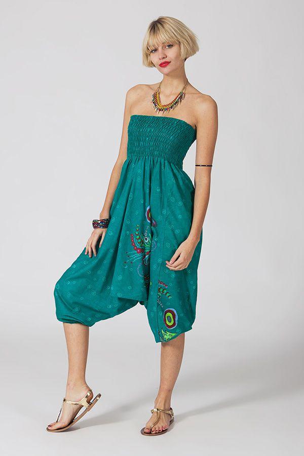 Sarouel d'été vert en coton transformable 3 en 1 Zara 289364