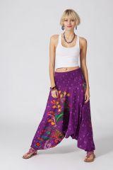 Sarouel d'été violet en coton transformable 3 en 1 Zara 289367
