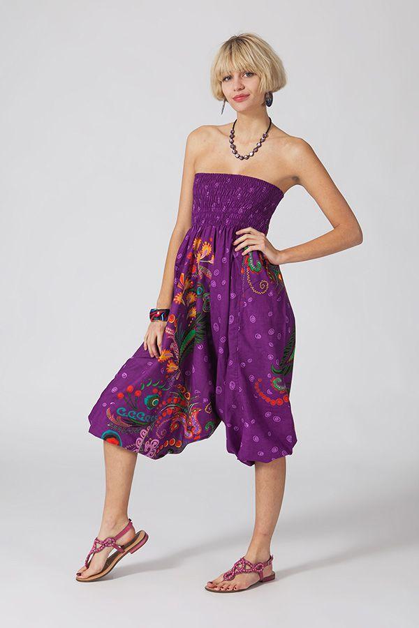 Sarouel d'été violet en coton transformable 3 en 1 Zara 289368