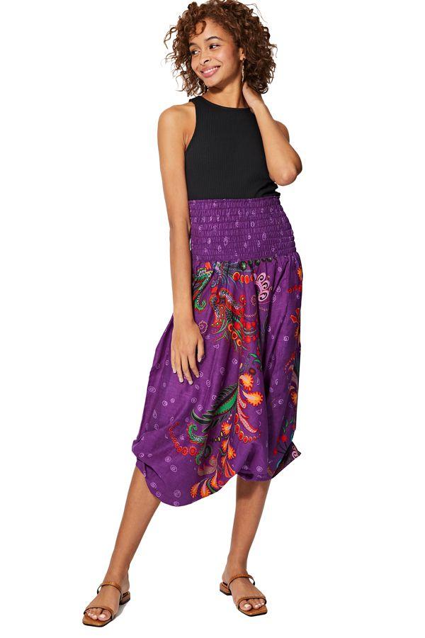 Sarouel d'été violet en coton transformable 3 en 1 Zara 325489