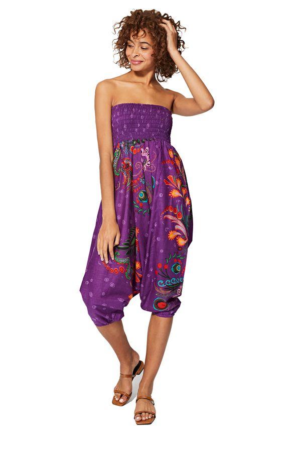 Sarouel d'été violet en coton transformable 3 en 1 Zara 325490
