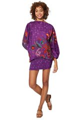 Sarouel d'été violet en coton transformable 3 en 1 Zara 325491