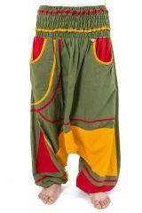 Sarouel élastique original tendance à poche vert, jaune et rouge Kopee 302792