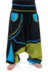 Sarouel élastique original tendance à poche vert, noir et bleu Kopee 302784