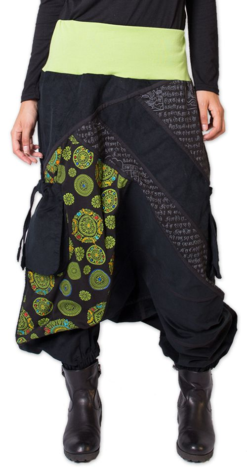 Sarouel en Velours pour femme Coloré et Ethnique Sepiks Vert 276177
