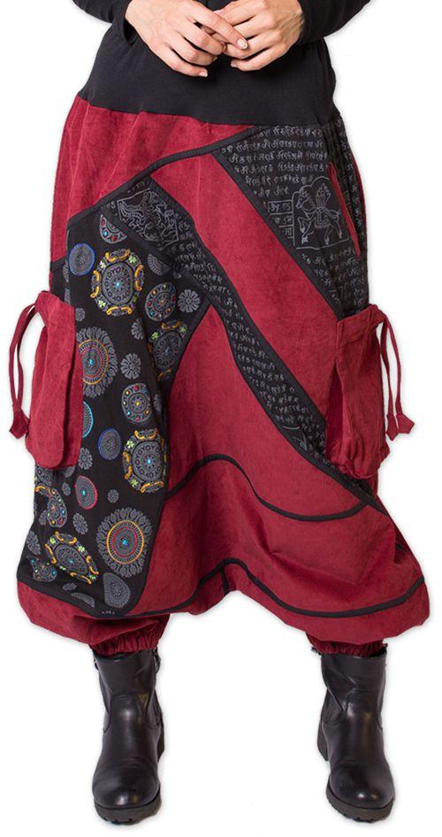 Sarouel en Velours pour femme Ethnique et Coloré Sepiks Rouge 276173