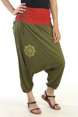 Sarouel ethnique avec lien de serrage et motif lotus Azélie 290701