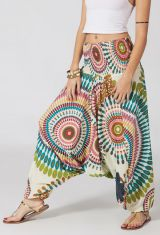 Sarouel ethnique blanc vêtement multifonctions 3 en 1 Yasmina 292324