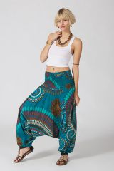 Sarouel ethnique bleu vêtement multifonctions 3 en 1 Yasmina 289399