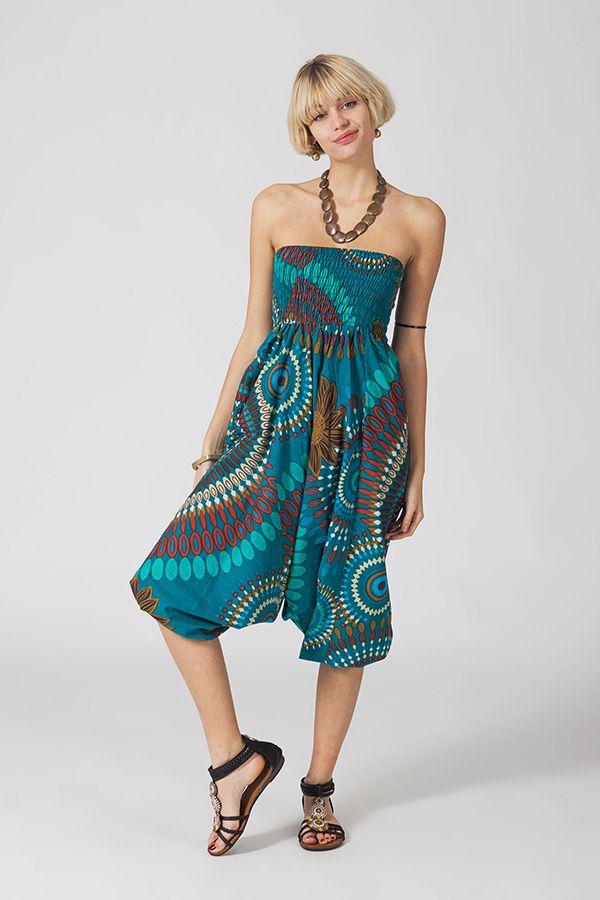 Sarouel ethnique bleu vêtement multifonctions 3 en 1 Yasmina 289400