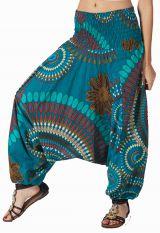 Sarouel ethnique bleu vêtement multifonctions 3 en 1 Yasmina 292323