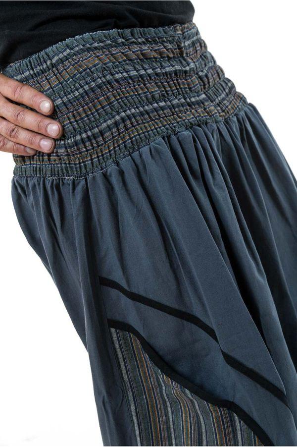 Sarouel ethnique grande taille élastique gris rayé Payou 302884