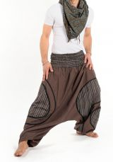 Sarouel ethnique grande taille élastique marron Paolo 302835