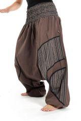 Sarouel ethnique grande taille élastique marron Payou 302838