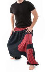 Sarouel ethnique grande taille élastique rayé rouge Payou 302846