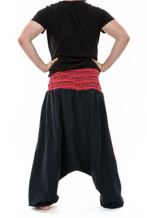 Sarouel ethnique grande taille élastique rayé rouge Payou 302847