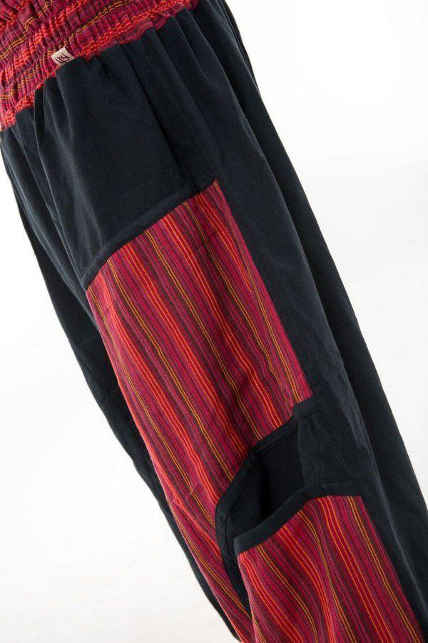 Sarouel ethnique grande taille élastique rayé rouge Payou 302848