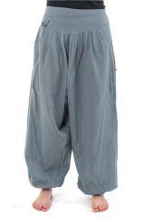 Sarouel ethnique unisexe en coton gris-bleu Blugrai 302737