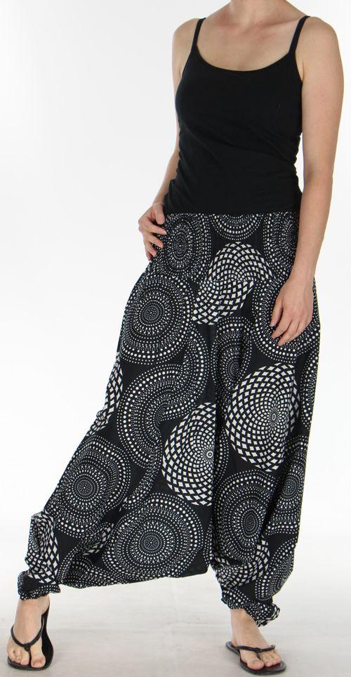 Sarouel Femme 3en1 Ethnique et Original Julen Noir et Blanc 275479