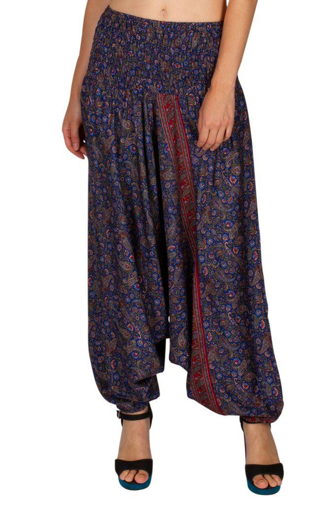 Sarouel femme 3en1 imprimé bleu roi look ethnique Lily 311451